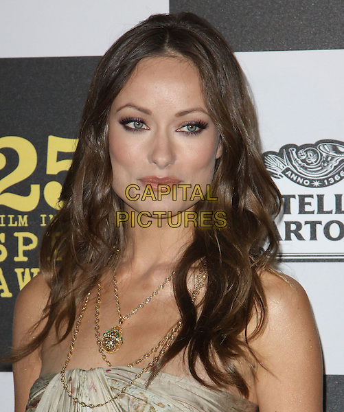 OLIVIA WILDE .25th Annual Film Independent Spirit Awards held At The Nokia LA Live, Los Angeles, California, USA,.March 5th, 2010 ..arrivals Indie Spirit portrait headshot make-up beauty strapless beige gold print printed patterned pattern necklace necklaces .CAP/ADM/KB.©Kevan Brooks/Admedia/Capital Pictures