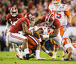 Alabama defensive linemen Da'Ron Payne (94) and Jonathan Allen sack Clemson quarterback Deshaun Watson in the first half of the 2017 College Football Playoff National Championship in Tampa, Florida on January 9, 2017.  Photo by Mark Wallheiser/UPI