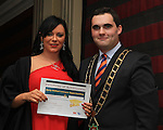 Mayor Kevin Callan presents Yhana Byrne with her ESLO Certificate in the Westcourt Hotel...(Photo credit should read Jenny Matthews www.newsfile.ie)....This Picture has been sent you under the conditions enclosed by:.Newsfile Ltd..The Studio,.Millmount Abbey,.Drogheda,.Co Meath..Ireland..Tel: +353(0)41-9871240.Fax: +353(0)41-9871260.GSM: +353(0)86-2500958.email: pictures@newsfile.ie.www.newsfile.ie.