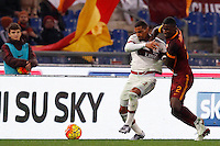 Calcio, Serie A: Roma vs Milan. Roma, stadio Olimpico, 9 gennaio 2016.<br /> AC Milan's Kevin-Prince Boateng, left, and Roma's Antonio Ruediger fight for the ball during the Italian Serie A football match between Roma and Milan at Rome's Olympic stadium, 9 January 2016.<br /> UPDATE IMAGES PRESS/Riccardo De Luca