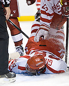 Sahir Gill (BU - 28) - The Boston University Terriers defeated the Harvard University Crimson 3-1 in the opening round of the 2012 Beanpot on Monday, February 6, 2012, at TD Garden in Boston, Massachusetts.
