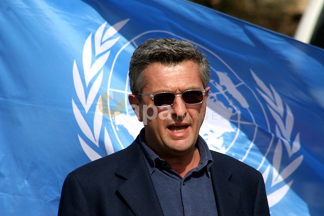 The new head of the UN agency for Palestinian refugees (UNRWA), Filippo Grandi of Italy during a visit to an area in the central Gaza Strip which was recently flooded following heavy rains, on February 2, 2010. Photo by Ashraf Amra