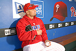 10/17/08 2:45:44 PM -- Philadelphia, PA, U.S.A. -- Philadelphia Phillies Shane Victorino poses for a photo in the Phillies dugout after practice October 17, 2008 at Citizen's Bank Park in Philadelphia, Pennsylvania. Victorino showed the team that cast him aside that it made a costly error. The Philadelphia outfielder, who spent six years in the L.A. Dodgers' farm system, used key hits in pressure situations, including a triple, Game 4 eighth-inning homer and six RBI during the NLCS, to help the Phillies beat the Dodgers and reach their first World Series since 1993. -- ...Photo by William Thomas Cain/cainimages.com.