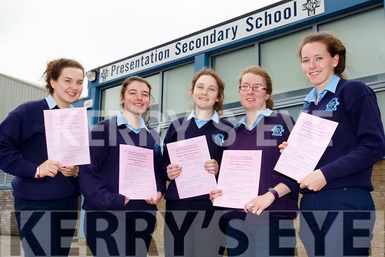 L-R Shauna O'Donoghue, Roseanne O'Shea, Roísin Beazley, Maura Prenderville-Casey and Fiona Nelligan who all got through English paper 1 in the leaving cert last Wednesday morning at Presentation Secondary school, Castleisland.