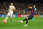 UEFA Champions League 2018/2019.<br /> Quarter-finals 2nd leg.<br /> FC Barcelona vs Manchester United: 3-0.<br /> Diogo Dalot vs Lionel Messi.