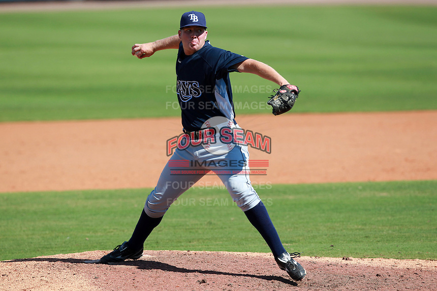 Tampa Bay Rays minor league pitcher George Jensen during an Instructional League game vs. the Minnesota Twins at Charlotte Sports Park in Port Charlotte, Florida;  October 5, 2010.  Photo By Mike Janes/Four Seam Images
