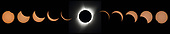 This composite image of eleven pictures shows the progression of a total solar eclipse at Madras High School in Madras, Oregon on Monday, August 21, 2017. A total solar eclipse swept across a narrow portion of the contiguous United States from Lincoln Beach, Oregon to Charleston, South Carolina. A partial solar eclipse was visible across the entire North American continent along with parts of South America, Africa, and Europe. <br /> Mandatory Credit: Aubrey Gemignani / NASA via CNP