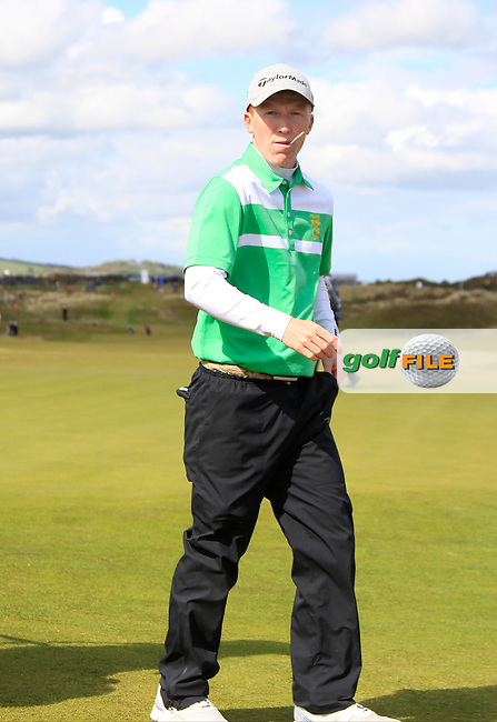 Gavin Moynihan (AM) on the 8th green during Round 1 of the 2015 Dubai Duty Free Irish Open, Royal County Down Golf Club, Newcastle Co Down, Northern Ireland. 28/05/2015<br /> Picture Thos Caffrey, www.golffile.ie