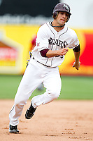 Spiker Helms (33) of the Missouri State Bears hurries to third base during a game against the Bradley Braves on May 13, 2011 at Hammons Field in Springfield, Missouri.  Photo By David Welker/Four Seam Images