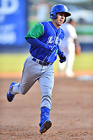 Lexington Legends Brhet Bewley (1) rounds the bases after hitting a home run during a game against the Asheville Tourists at McCormick Field on July 1, 2019 in Asheville, North Carolina. The Tourists defeated the Legends 9-8. (Tony Farlow/Four Seam Images)
