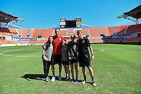 Houston, TX - Saturday Oct. 08, 2016: Ali Krieger, Diana Matheson, Victoria Huster during a walk-thru prior to the National Women's Soccer League (NWSL) Championship match between the Washington Spirit and the Western New York Flash at Houston Sports Park.