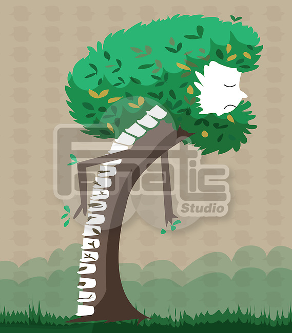 Illustrative image of tree representing spinal problems of elderly people