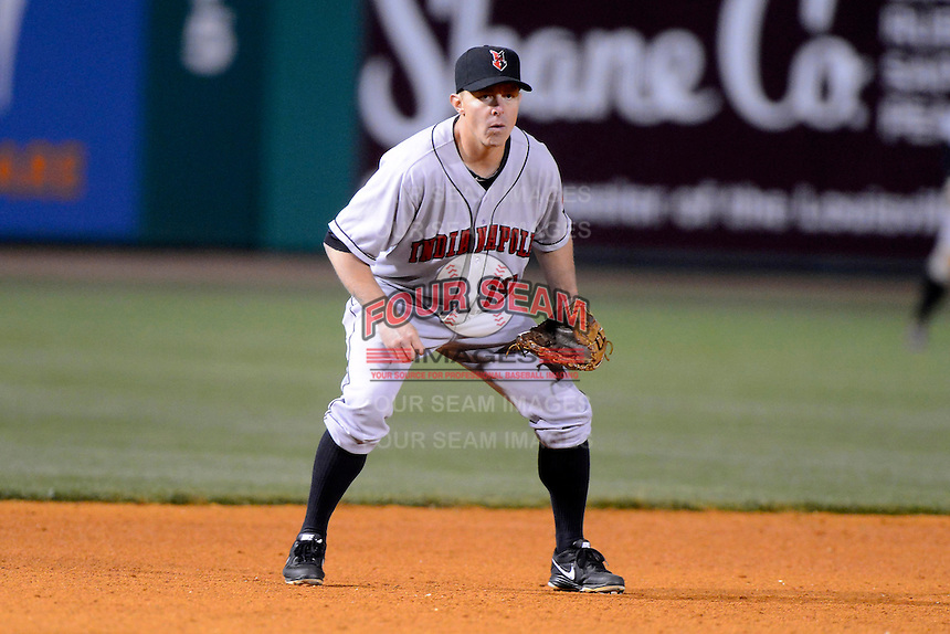 Indianapolis Indians third baseman Brandon Inge #19 during a game against the Louisville Bats on April 19, 2013 at Louisville Slugger Field in Louisville, Kentucky.  Indianapolis defeated Louisville 4-1.  (Mike Janes/Four Seam Images)