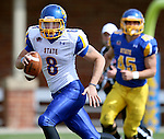 BROOKINGS, SD - APRIL 26:  Quarterback Dalton Douglas #8 from South Dakota State's offense scrambles for yardage during their spring game Saturday at Coughlin Alumni Stadium in Brookings. (Photo by Dave Eggen/Inertia)
