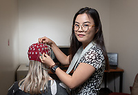 Sally (Xinle) Zhou '20, cognitive science major. Portrait in Hinchliffe Hall room B205 for online profile, Nov. 8, 2019.<br /> (Photo by Marc Campos, Occidental College Photographer)
