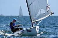 Finn / Ed Wright (GBR)<br /> ISAF Sailing World Cup Final - Melbourne<br /> St Kilda sailing precinct, Victoria<br /> Port Phillip Bay Tuesday 6 Dec 2016<br /> &copy; Sport the library / Jeff Crow