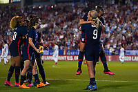 11th Mach 2020, Frisco, Texas, USA;  Players of the USA celebrate Lindsey Horans goal during the 2020 SheBelieves Cup Womens International Friendly,  football match between USA Women versus Japan Women at Toyota Stadium in Frisco, Texas, USA.
