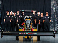 Jan 9, 2018; Brownsburg, IN, USA; Crew members for NHRA top fuel driver Leah Pritchett pose for a portrait during a photo shoot at Don Schumacher Racing. Mandatory Credit: Mark J. Rebilas-USA TODAY Sports