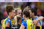 11.05.2019, Scharrena, Stuttgart<br />Volleyball, Bundesliga Frauen, Play-offs Finale, 5. Spiel, Allianz MTV Stuttgart vs. SSC Palmberg Schwerin<br /><br />Kimberly Drewniok (#8 Schwerin), Anna Pogany (#4 Schwerin), Jennifer Geerties (#6 Schwerin), Denise Hanke (#10 Schwerin), Beta Dumancic (#11 Schwerin), Mckenzie Adams (#13 Schwerin) enttŠuscht / enttaeuscht / traurig <br /><br />  Foto © nordphoto / Kurth
