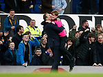 Duncan Ferguson stand in manager of Everton celebrates the third goal and kisses a ballboy during the Premier League match at Goodison Park, Liverpool. Picture date: 7th December 2019. Picture credit should read: Simon Bellis/Sportimage