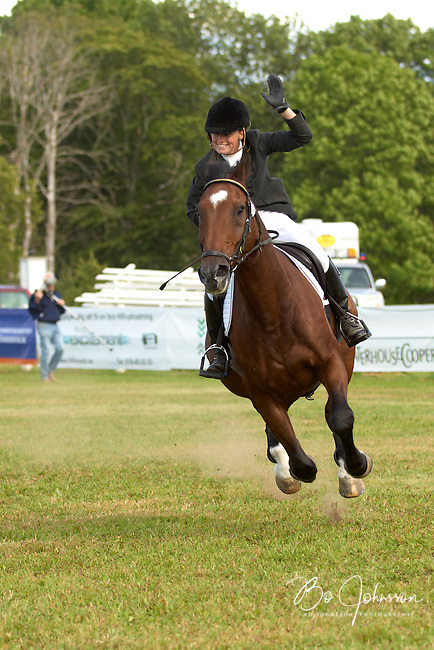 Sara Algotsson and Robin des Bois crossing the finish line in the show jumping test and winning the Swedish Championships 2007.<br /> Eventing CNC*** in Segersjo, Odinsbacken, Orebro, Sweden.<br /> August 2007.<br /> Only for editorial use.