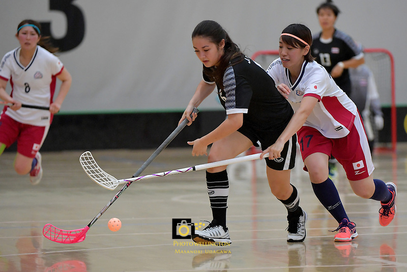 Thailand's Nelly Johanssan and Japan's Anna Kurata in action during the World Floorball Championships 2017 Qualification for Asia Oceania Region - Japan v Thailand at ASB Sports Centre , Wellington, New Zealand on Saturday 4 February 2017.<br /> Photo by Masanori Udagawa<br /> www.photowellington.photoshelter.com.