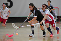 Thailand&rsquo;s Nelly Johanssan and Japan&rsquo;s Anna Kurata in action during the World Floorball Championships 2017 Qualification for Asia Oceania Region - Japan v Thailand at ASB Sports Centre , Wellington, New Zealand on Saturday 4 February 2017.<br /> Photo by Masanori Udagawa<br /> www.photowellington.photoshelter.com.