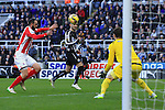 Remy Cabella of Newcastle United gets his head to a cross but fails to score - Newcastle United vs. Stoke City - Barclay's Premier League - St James' Park - Newcastle - 08/02/2015 Pic Philip Oldham/Sportimage
