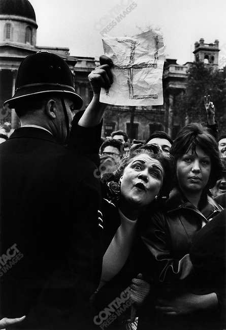 Anti-facist demonstrator protesting against a National Socialist Party rally, Trafalgar Square, London, Great Britain, 1962
