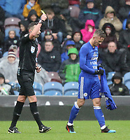 Leicester City's James Maddison is cautioned by Referee Michael Oliver for removing his shirt to reveal a 'Sophie I Love You' message as he celebrated scoring the opening goal from a free-kick<br /> <br /> Photographer Rich Linley/CameraSport<br /> <br /> The Premier League - Burnley v Leicester City - Saturday 16th March 2019 - Turf Moor - Burnley<br /> <br /> World Copyright © 2019 CameraSport. All rights reserved. 43 Linden Ave. Countesthorpe. Leicester. England. LE8 5PG - Tel: +44 (0) 116 277 4147 - admin@camerasport.com - www.camerasport.com