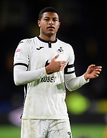 Swansea City's Rhian Brewster taps the club badge of his shirt at the end of the game<br /> <br /> Photographer Chris Vaughan/CameraSport<br /> <br /> The EFL Sky Bet Championship - Hull City v Swansea City -  Friday 14th February 2020 - KCOM Stadium - Hull<br /> <br /> World Copyright © 2020 CameraSport. All rights reserved. 43 Linden Ave. Countesthorpe. Leicester. England. LE8 5PG - Tel: +44 (0) 116 277 4147 - admin@camerasport.com - www.camerasport.com