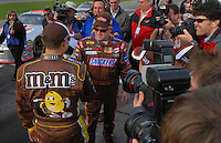 Feb 11, 2007; Daytona, FL, USA; Nascar Nextel Cup driver Ricky Rudd (88) congratulates teammate David Gilliland (38) after he qualified on the pole for the Daytona 500 at Daytona International Speedway. Mandatory Credit: Mark J. Rebilas