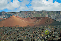 Rugged landscape of lava flows in the crater of HALEAKALA NATIONAL PARK on Maui in Hawaii has backcountry cabins and hiking trails to enjoy