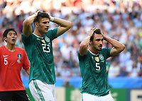 (180627) -- KAZAN, June 27, 2018 -- Mario Gomez (C) and Mats Hummels of Germany react during the 2018 FIFA World Cup WM Weltmeisterschaft Fussball Group F match between Germany and South Korea in Kazan, Russia, June 27, 2018. ) (SP)RUSSIA-KAZAN-2018 WORLD CUP-GROUP F-GERMANY VS SOUTH KOREA LixGa PUBLICATIONxNOTxINxCHN  <br /> Kazan 27-06-2018 Football FIFA World Cup Russia  2018 <br /> South Korea - Germany / Corea del Sud - Germania<br /> Foto Imago/Insidefoto