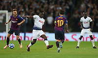 Barcelona's Lionel Messi and Tottenham Hotspur's Victor Wanyama<br /> <br /> Photographer Rob Newell/CameraSport<br /> <br /> UEFA Champions League Group B - Tottenham Hotspur v Barcelona - Wednesday 3rd October 2018 - Wembley Stadium - London<br />  <br /> World Copyright © 2018 CameraSport. All rights reserved. 43 Linden Ave. Countesthorpe. Leicester. England. LE8 5PG - Tel: +44 (0) 116 277 4147 - admin@camerasport.com - www.camerasport.com