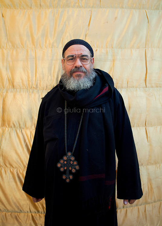 Egypt / Cairo / 18.11.2012 / Coptic Pope election: a priest poses during the Papal election ceremony in St Mark Cathedral in Abbasseya © Giulia Marchi