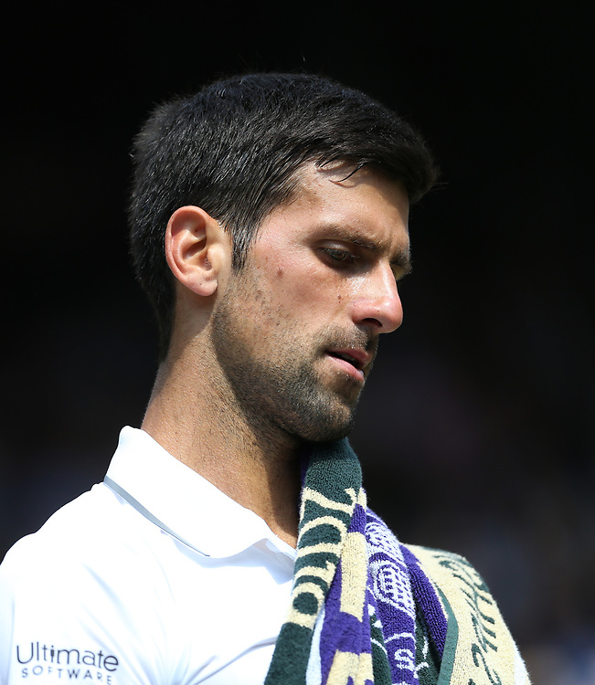 Novak Djokovic (SRB) during his match against Roberto Bautista Agut (ESP) in their Gentleman's Singles Semi Final match<br /> <br /> Photographer Rob Newell/CameraSport<br /> <br /> Wimbledon Lawn Tennis Championships - Day 11 - Friday 12th July 2019 -  All England Lawn Tennis and Croquet Club - Wimbledon - London - England<br /> <br /> World Copyright © 2019 CameraSport. All rights reserved. 43 Linden Ave. Countesthorpe. Leicester. England. LE8 5PG - Tel: +44 (0) 116 277 4147 - admin@camerasport.com - www.camerasport.com