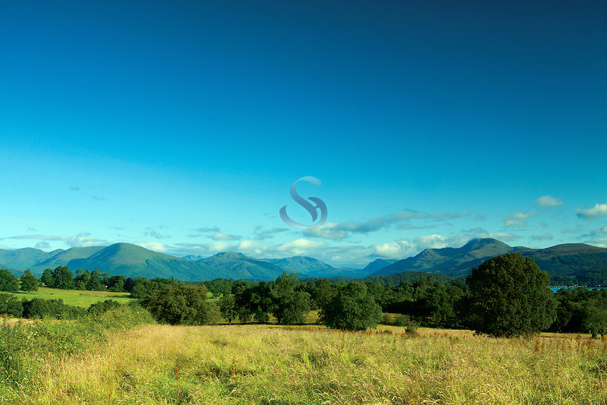 Ben Lomond, the Luss Hills and Loch Lomond National Nature Reserve from the Aber Path, Gartocharn, Loch Lomond and the Trossachs National Park