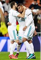 Real Madrid's Nacho Fernandez, Marcelo Vieira and Carlos Henrique Casemiro celebrate goal during La Liga match. November 5,2017. (ALTERPHOTOS/Acero)