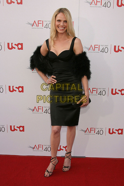 RACHEL ROBERTS.35th AFI Life Achievement Award Honoring Al Pacino held at the Kodak Theatre, Hollywood, California, USA..June 7th, 2007.full length black dress fur wrap hands on hip strappy sandals clutch purse .CAP/ADM/RE.©Russ Elliot/AdMedia/Capital Pictures