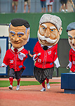 28 February 2017: Washington Nationals mascots the Racing Presidents entertain fans between innings during the Spring Training inaugural game against the Houston Astros at the Ballpark of the Palm Beaches in West Palm Beach, Florida. The Nationals defeated the Astros 4-3 in Grapefruit League play. Mandatory Credit: Ed Wolfstein Photo *** RAW (NEF) Image File Available ***
