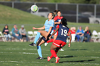 Piscataway, NJ - Sunday April 24, 2016:. Midfielder Shawna Gordon (2) of Sky Blue FC brings the ball down in front of forward Crystal Dunn (19) of the Washington Spirit.  The Washington Spirit defeated Sky Blue FC 2-1 during a National Women's Soccer League (NWSL) match at Yurcak Field.
