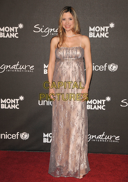 MIRA SORVINO.The Montblanc Signature for Good Charity Gala held at Paramount Studios in Hollywood, California, USA..February 20th, 2009.full length long maxi dress silver pink sheer pattern .CAP/DVS.©Debbie VanStory/Capital Pictures.