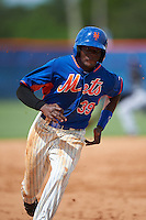 GCL Mets second baseman Cecilio Aybar (39) running the bases during the first game of a doubleheader against the GCL Marlins on July 24, 2015 at the St. Lucie Sports Complex in St. Lucie, Florida.  GCL Marlins defeated the GCL Mets 5-4.  (Mike Janes/Four Seam Images)