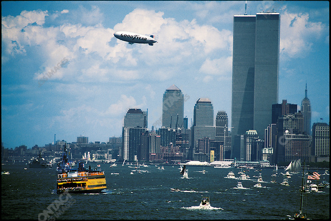 World Trade Center and the New York harbor, New York, USA, July 4, 1986