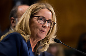 UNITED STATES - SEPTEMBER 27: Christine Blasey Ford testifies during the Senate Judiciary Committee hearing on the nomination of Brett M. Kavanaugh to be an associate justice of the Supreme Court of the United States, focusing on allegations of sexual assault by Kavanaugh against Christine Blasey Ford in the early 1980s. (Photo By Tom Williams/CQ Roll Call/POOL)