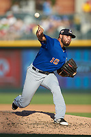 Durham Bulls relief pitcher Ruben Alaniz (16) delivers a pitch to the plate against the Charlotte Knights at BB&T BallPark on July 4, 2018 in Charlotte, North Carolina. The Knights defeated the Bulls 4-2.  (Brian Westerholt/Four Seam Images)