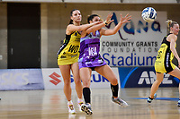 Stars&rsquo; Grace Kara and Pulse&rsquo; Karin Burger in action during the ANZ Premiership - Pulse v Northern Stars at Te Rauparaha Arena, Porirua, New Zealand on Monday 25 June 2018.<br /> Photo by Masanori Udagawa. <br /> www.photowellington.photoshelter.com