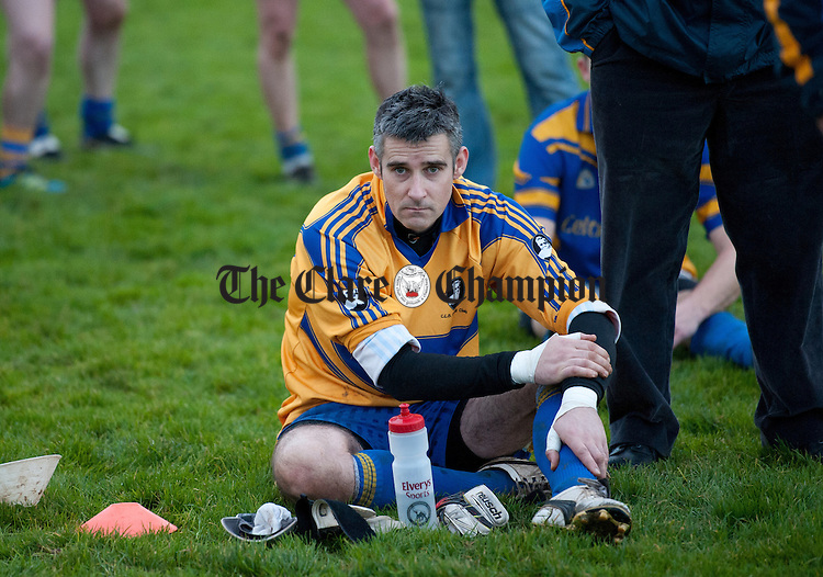 A clearly dissapointed St Breckan's goalie Eoin Farrell following their loss to Clarecastle in the Junior A football final at Corofin. Photograph by John Kelly.