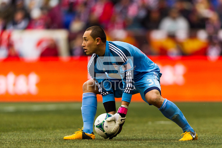 New York Red Bulls goalkeeper Luis Robles (31). The New York Red Bulls and D. C. United played to a 0-0 tie during a Major League Soccer (MLS) match at Red Bull Arena in Harrison, NJ, on March 16, 2013.
